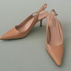 Coach heels Pointy toe, sling back Coach heels in great condition. Worn a few times. Size 6 in nude/beige color. Heel height  3 inches Coach Shoes Heels
