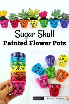 Day of the Dead craft. This painted flower pots sugar skull craft is perfect for Dia de los Muertos. The finished flower pots make for beautiful Day of the Dead decor. Pintura Sugar Skull, Sugar Skull Painting, Sugar Skull Crafts, Sugar Skull Art, Sugar Skull Decor, Mexican Sugar Skulls, Crafts For Teens To Make, Diy And Crafts, Arts And Crafts