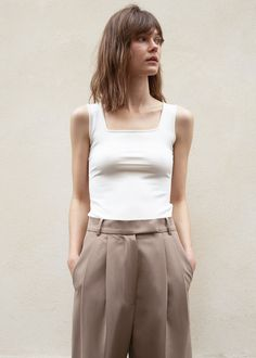 Square Neck Knit Tank Top in Vanilla – The Frankie Shop New Fashion, Fashion Outfits, Knitted Tank Top, Normcore, Slim, Style Inspiration, Clothes For Women, Tank Tops, Knitting