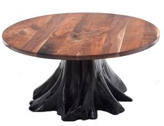 """Black Walnut Dining Table with Stump Base - Base Shown Painted Black - Item #DT00163 - 54"""", 60"""" & 66"""" Round -Other Color & Natural Options - Available Larger with 2 Bases in Rectangle"""