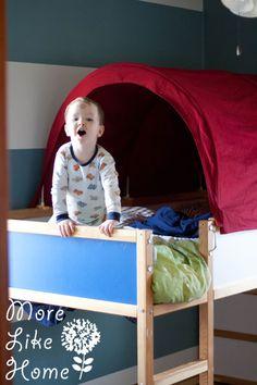 MoreLikeHome.net - Ikea Hack - Kura Bed Tent Makeover