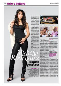 Michelle Rodríguez, rápida y furiosa. Diseño del diario La República. #layout #design #diseñoeditorial