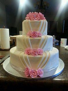Draped wedding cake