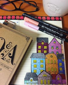 "Páči sa mi to: 32, komentáre: 1 – Dominika Imrichová (@ms_domca) na Instagrame: ""Cute houses are a MUST! 🏠🍁🍂 🍂🍁 #journal #journaling #journaladdict #creativejournaling #doodle…"" Cute House, My Journal, Pepsi, Journaling, Ms, Addiction, Doodles, Houses, Creative"