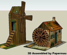 PAPERMAU: Windmill And Watermill Vintage Paper Models - by Unknown - via Papermau