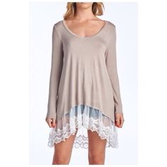 White Lace Hem Beige Top Beige mocha long sleeves top tunic with white lace bottom. Rayon and spandex blend. Perfect with jeans, shorts or leggings. Made in USA. Tops Blouses