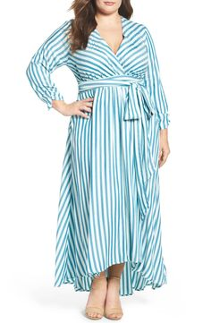 Melissa McCarthy Seven7 Stripe Twill Wrap Maxi Dress