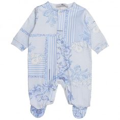 12a15e21a Young Versace baby boys blue and striped romper. #versace #youngversace  #romper Versace
