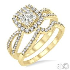 3/4 Ctw Round Cut Diamond Lovebright Wedding Set with 5/8 Ctw Engagement Ring and 1/6 Ctw Wedding Band in 14K Yellow Gold