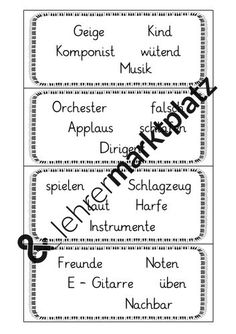 Instrumente / Musik - Reizwortkärtchen – Unterrichtsmaterial in den Fächern DaZ/DaF & Deutsch Sheet Music, Bullet Journal, Math Equations, Sentence Building, Conductors, Play Based Learning, Percussion, Orchestra, Social Networks