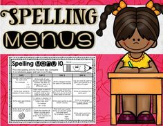 This spelling menu product has 10 different spelling menus to help run your spelling homework or centers. There are four choices a day, three choices a day, and options for parent signatures. Spelling Menu, Spelling Homework, Spelling And Grammar, Spelling Ideas, Word Study Activities, Spelling Activities, First Grade Homework, Library Labels, School Subjects