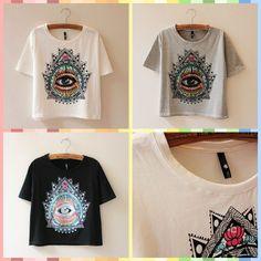 2014 New Fashion Women Summer 100% Cotton White Black Gray Short Sleeve Vintage Eye Print Thin T Shirt $13.99