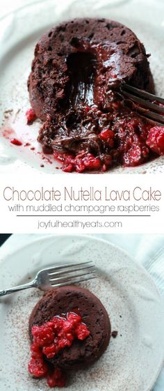 The BEST Nutella Chocolate Lava Cake Recipe with Champagne Raspberries Nutella Chocolate Lava Cake topped with Muddled Champagne Raspberries, a decadent dessert recipe for two! Nutella Lava Cake, Chocolate Lava Cake, Nutella Chocolate, Chocolate Recipes, Chocolate Butter, Dessert Chocolate, Lava Cake Recipes, Lava Cakes, Dessert Recipes