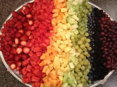 My rainbow fruit platter for Mallory's rainbow themed first birthday!!