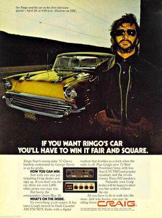 paco camino: Vintage Ad: Ringo Starr for Craig Car Stereos, 1978 Retro Advertising, Vintage Advertisements, Vintage Ads, Vintage Looks, Celebrity Advertising, Vintage Stuff, Vintage Photos, Ringo Starr, Car Audio