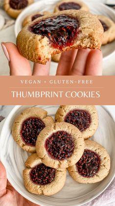 Healthy Cookies, Gluten Free Cookies, Gluten Free Desserts, Healthy Desserts, Vegan Gluten Free, Gluten Free Recipes, Vegan Recipes, Jam Recipes, Cookie Recipes