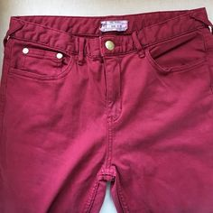 Free People Red Flare Stretch Jeans Size 30 Nice long stretch jeans in red! Cotton Polyester Lycra blend. So comfy and boho chic! Must Haves!! Nice and long too for your platform sandals! Free People Jeans Flare & Wide Leg