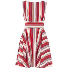 Dorothy Perkins Multi stripe dress (£45) ❤ liked on Polyvore featuring dresses, vestidos, multi color, multi color dress, colorful dresses, pattern dress, stripe dresses and red circle skirt