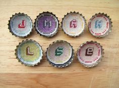 Custom cross-stitch letter brooches