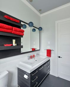 Takes less space, possibly fit the toilet and the sinks.