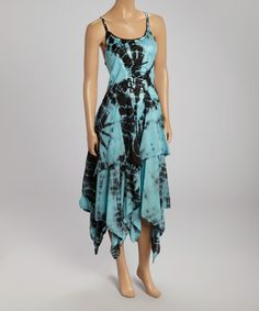 Take+a+look+at+the+Black+&+Aqua+Tie-Dye+Handkerchief+Dress+on+#zulily+today!