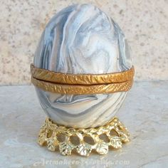 Hinged polymer clay Egg trinket box | ArtmakersWorlds - Housewares on ArtFire