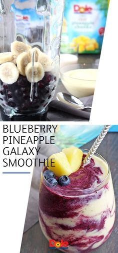 Tried a layered smoothie yet? Create one that's out of this world with this Blueberry Pineapple Galaxy Smoothie recipe. Filled with frozen DOLE® Blueberries, banana slices, shredded coconut, and frozen DOLE Pineapple Chunks—it's a smooth, tropical-tasting Juice Smoothie, Smoothie Drinks, Healthy Smoothies, Fruit Smoothies, Healthy Drinks, Healthy Recipes, Smoothies With Pineapple, Blueberry Drinks, Locarb Recipes