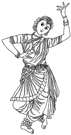 sareeindian girl coloring page - Girl Indian Coloring Pages