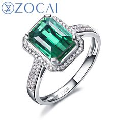 ZOCAI ZODIAC GEM FIRE SIGNS LEGEND NATURAL 2.0 CT GREEN TOURMALINE DIAMOND EMERALD COCKTAIL RING 18K WHITE GOLD
