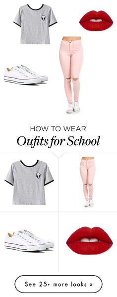 """school"" by linsflooo on Polyvore featuring Chicnova Fashion, Lime Crime and Converse"