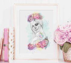 Watercolor Wall Art Pencil Illustration Skull Girl Print Boho