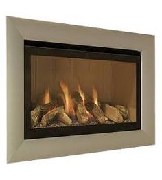 Jazz Cream Back and Champagne Trim Log Bed Remote Control Gas Fire