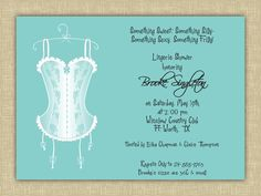 Tiffany Blue Lingerie - Lingerie Shower, Bachelorette Party, Girls Night Out, Birthday Party Invitation - INCLUDES Return Address Printing. $0.85, via Etsy.