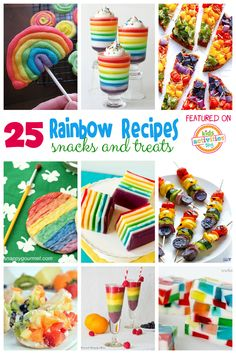 So many awesome rainbow foods for kids. These would be fun for St. Patrick's Day!