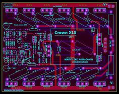 PCB Power amplifier crown Crown Amplifier, Audio Amplifier, Electronic Schematics, Electronic Circuit, Circuit Board Design, Robotic Automation, Recorder Music, Circuit Projects, Circuit Diagram