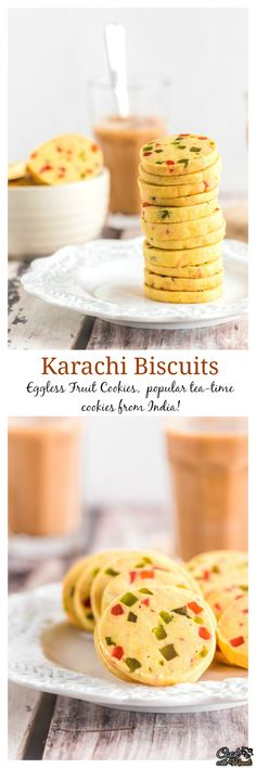 Eggless Fruit Cookies, also known as Karachi Biscuits are popular tea time cookies from India! Fruit Biscuits, Biscuit Cookies, Biscuit Recipe, No Bake Cookies, Eid Biscuits, Eggless Desserts, Eggless Baking, Indian Snacks, Indian Food Recipes