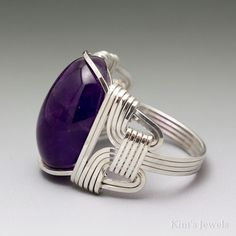 Amethyst Cabochon Sterling Silver Wire Wrapped Ring by KimsJewels
