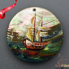 HAND PAINTED SAIL BOAT NATURAL MOP MOTHER OF PEARL SHELL PENDANT ZL3005926 #ZL #PENDANT