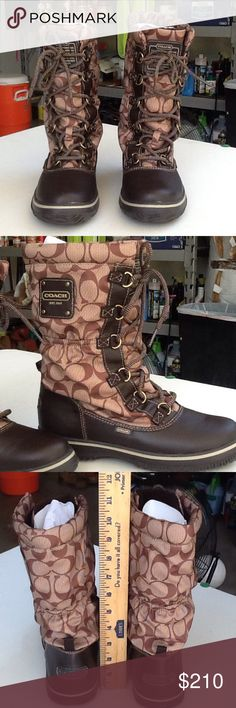 Coach boots Authentic Coach boot, calf height.  Boots are 10 1/4 inches high.  Excellent condition worn twice.  Asking for $180 OBO. Coach Shoes Lace Up Boots