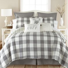 Transform your bed into a calming oasis with the serene Camden Reversible Quilt Set from Levtex Home. The quilt is rendered in a trendy plaid motif, and reverses to an equally stylish look for contrast. Plaid Bedroom, Plaid Bedding, Bedroom Bed, Guest Bedrooms, Bedroom Ideas, Bedroom Designs, Bed Room, Gray Bedroom Decor, Bedroom Furniture