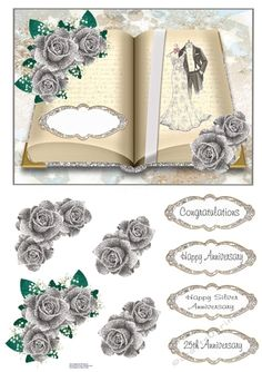- An open book with a wedding dress and suit on one side. Silver roses at the edges. Decoupage the flowers. Bank Holiday Weekend, Gift Vouchers, Open Book, Silver Roses, Gold Stars, Card Designs, Wedding Anniversary, Decoupage, Card Making