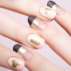 8 must-try negative space manicures to try, like this glitter and pink color combo.