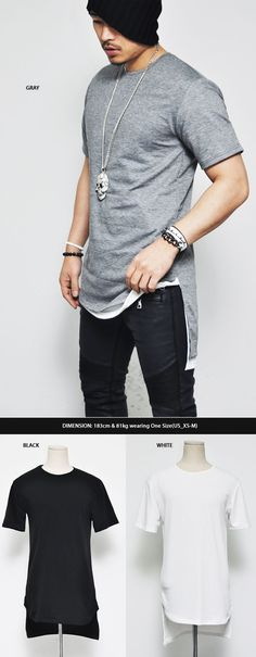 Tops :: Tees :: L sz Ready)Avant-garde Unbalance Long Round-Tee 281 - Mens Fashion Clothing For An Attractive Guy Look