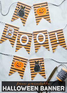 Free Halloween Banner Printable in Orange and Black Watercolor Stripes