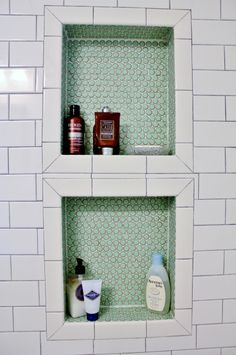 I like how they framed out the shower niches and featured accent tile in back of niches.
