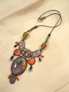 Vintage Hanky Eye Candy necklace by FactoryGirlDesigns on Etsy