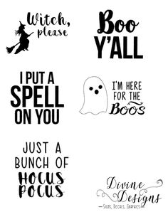 Adult Halloween Shirts-Funny-Just a bunch of Hocus Pocus, Boo Yall, Here for the Boos, Witch please, I put a spell on you by DivineDesignsbyJWR on Etsy