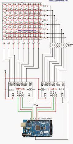 Method to Control LED Matrix using Shift Register IC 74595 and Arduino Mega . Method to Control LED Matrix using Shift Register IC 74595 and Arduino Mega « Funny Electronics Led Arduino, Arduino Mega, Esp8266 Arduino, Electronics Projects, Hobby Electronics, Electronic Circuit Projects, Electronic Engineering, Electrical Engineering, Electronics Gadgets