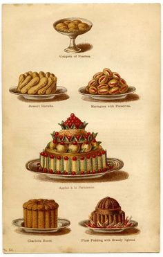 Typical Desserts served during a Regency Christmas Season. From: Cassell's Dictionary of Cookery