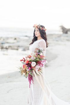 Bohemian Beach Wedding: Bohemian Beach Wedding Bouquet: a whimsical unstructured fall bouquet filled with fall leaves in an autumn palette of oranges, warm neutrals and pops of jewel tones. Beach Wedding Tables, Bohemian Beach Wedding, Beach Wedding Bouquets, Beach Wedding Hair, Beach Wedding Photos, Beach Wedding Inspiration, Wedding Gowns, Wedding Ideas, Gorgeous Wedding Dress